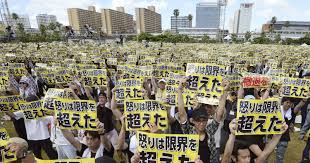tens of thousands protest on okinawa to close key u s bases in japan