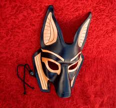 halloween personal checks made to order traditional anubis leather mask masquerade