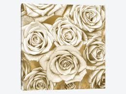 gold roses ivory roses on gold canvas wall by kate icanvas