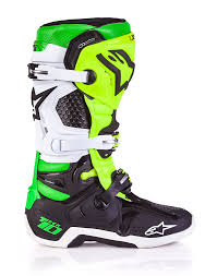 neon motocross gear alpinestar vegas le tech 10 motocross boots black white green
