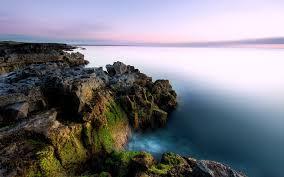 beach coastline rocks sea beautiful rugged mist horizon earth
