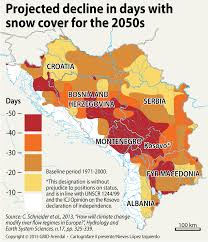 Snow Coverage Map Projected Decline In Days With Snow Cover For The 2050s Grid Arendal