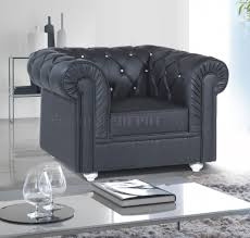 Chesterfield Sofa In Living Room by Sofa In Black Bonded Leather By Rain W Options