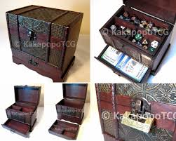 lockable wooden case chest for collectible fantasy coin dice