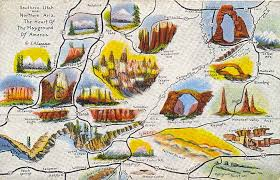 map of southern utah postcardy the postcard explorer map southern utah and northern