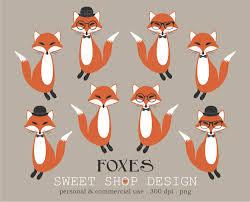 fox clip art woodland animal clip art baby shower clip art
