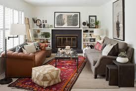 denver bookshelves around fireplace living room eclectic with boho