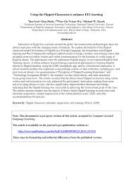 using the flipped classroom to enhance efl learning pdf download