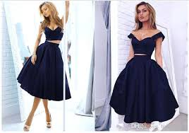 2016 puffy navy blue two piece prom dresses cap sleeves knee