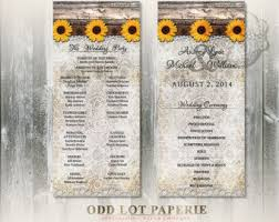 Sunflower Wedding Programs Rustic Lace Wedding Program Double Sided Digital Printable