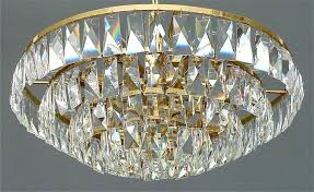 Corona Chandelier Fine Large Palwa Gilt Brass Five Tier Faceted Crystal Glass
