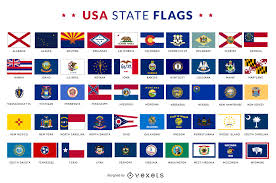 State Flags Of Usa Usa State Flags Collection Vector Download