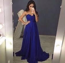 sweetheart royal blue chiffon prom dress 2016 evening dress
