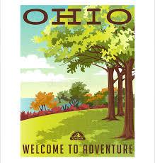 Ohio travel style images Retro style travel poster series united states ohio landscape jpg