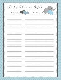 baby shower gift list printable baby shower
