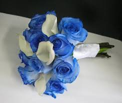 white and blue roses and company
