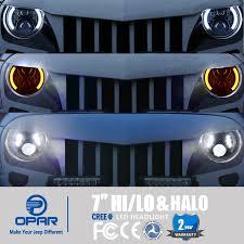 jeep wrangler blue headlights amazon com opar 7 inch led headlights w drl halo