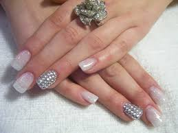these nails are truly glamourous that are made with white over