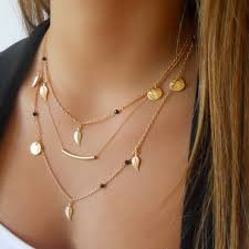 multi layer pendant necklace images Kittenup new gold silver color chain beads leaves pendant necklace jpg