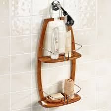 brown wall teak shower caddy with double racks on stainless steel