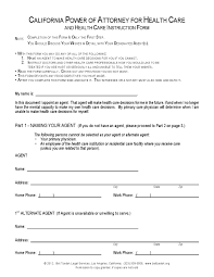 Forms For Durable Power Of Attorney by Free California Durable Power Of Attorney For Health Care Form