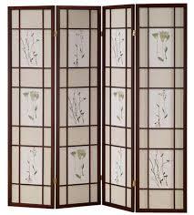 4 panel room divider privacy screen japanese shoji flower design