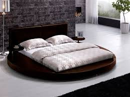brown leather headboard round bed queen tos t009 br q