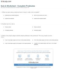 quiz u0026 worksheet complete predicates study com
