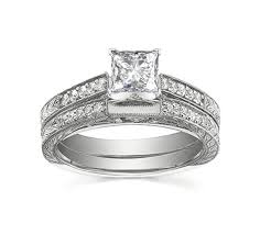 wedding ring sets cheap handcrafted vintage cheap diamond bridal set 1 carat princess cut
