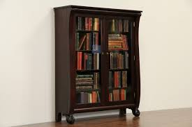 Mahogany Bookcase With Glass Doors Sold Empire 1900 Antique Mahogany Bookcase Paw Wavy