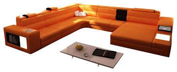Polaris Sofa Polaris Orange Top Grain Italian Leather Sectional Sofa