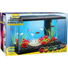 color changing led fish tank lights tetra colorfusion 10 gallon glass bubbling led kit with accessories
