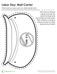 Mailman Hat Coloring Page | mail carrier hat worksheets community helpers and teacher stuff