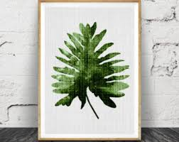 Tropical Decor Monstera Leaf Print Modern Minimal Botanical Wall Art Large
