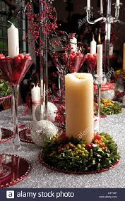 Christmas Decoration Table Candle Candles And Table Garlands Christmas Candle Glasses Glass Red