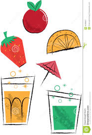 cocktail drinks and fruit children u0027s illustrations stock vector