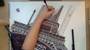 realistic drawing the eiffel tower youtube