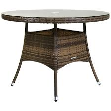 charles bentley 4 seater medium rattan dining table glass top