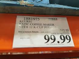 costco keurig k525c single serve coffee maker 12 k cup pods and