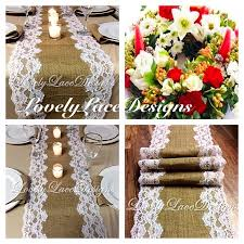 Holiday Table Decorations by Christmas Table Runner Burlap U0026 White Lace 5ft 10ft X 12in Wide