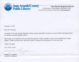 thank you letter from the glen burnie regional library