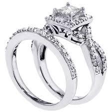 princess cut wedding set 2 00 ct square halo princess cut diamond engagement set in 18kwg