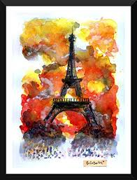 tallenge eiffel tower watercolor painting small size ready to