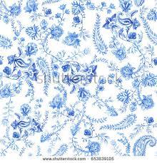 blue white floral wallpaper floral seamless stock illustration