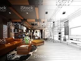 Residential Blueprints Sketch Design Of Living 3dwire Frame Render Stock Photo 484459352