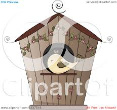clipart of a brown bird house with flowers royalty free vector