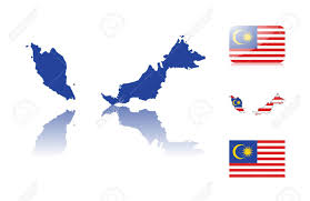 map malaysia vector malaysian map including map with reflection map in flag colors