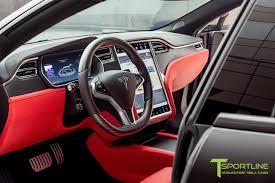 satin black tesla model s 2 0 custom ferrari rosso interior