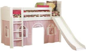 lovely pink and white kids bunk beds with slide and tent design