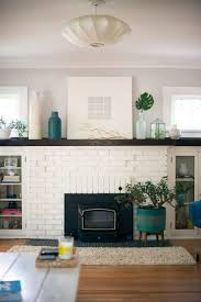living room vase and flowers decor fire brick painted brick